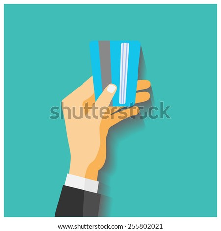Flat design style illustration. Hand hold credit card to pay - stock vector
