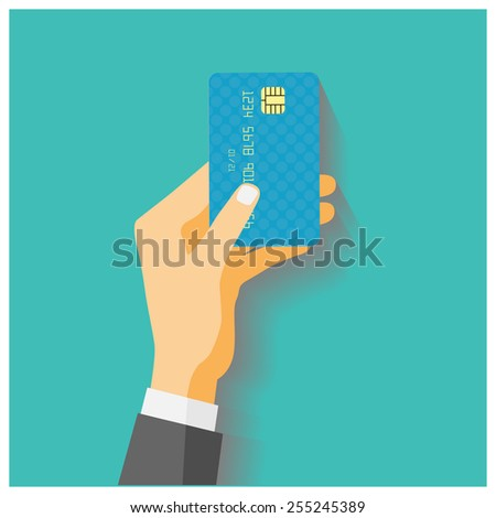 Flat design style illustration. Hand hold credit card to pay. Vector illustration, isolated on green - stock vector