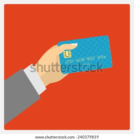 Flat design style illustration. Hand hold credit card to pay. Vector illustration, isolated on red - stock vector