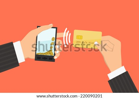 Flat design style illustration. Smartphone with processing of mobile payments from credit card. Communication technology concept. Isolated on red background  - stock vector