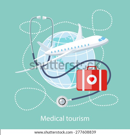 Flat design style modern concept of medical services abroad, along with the rest. Medical stethoscope around the globe, airplane and doctor bag with a red heart. Medical Tourism - stock vector