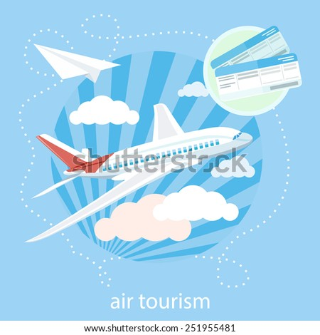 Flat design style modern concept with item icons of detailed airplane flying through clouds in the blue sky - stock vector