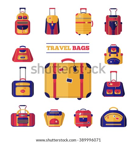 Flat design style modern icons set of luggage travel bags set vector illustration - stock vector