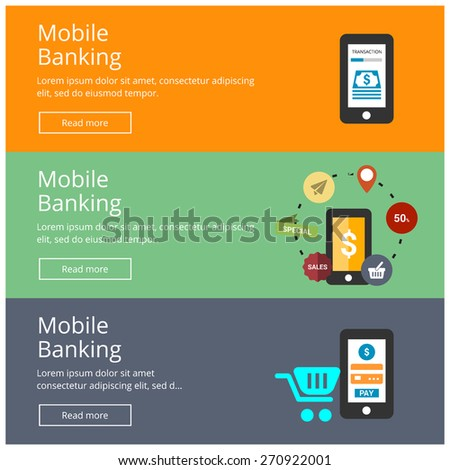 Flat design style modern smartphone with processing of mobile Banking from credit card on the screen. M-Commerce Mobile Bank online payment website banner poster vector colored illustration concept. - stock vector