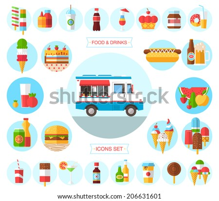 Flat design style modern vector icons set of wagon full of tasty summer food, meals, drinks and fruits. Isolated illustration on stylish color background  - stock vector