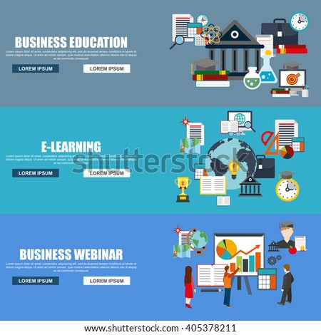 Flat design style modern vector illustration concept for business webinar, online education, distance tutorials, staff training, e-learning, isolated elements for website banner. Flat icons. - stock vector