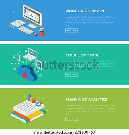 Flat design style modern vector illustration concept for web, management, infographic, development, design, finance and other business. Banners for websites. Isometric icons. Vector illustration. - stock vector