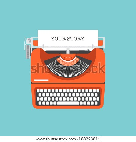 Flat design style modern vector illustration concept of a manual vintage stylish typewriter with share your story text on a paper list. Isolated on stylish color background - stock vector