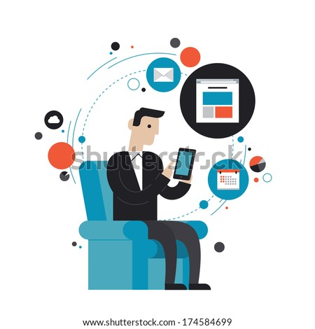 Flat design style modern vector illustration concept of businessman using mobile phone for internet browsing, email correspondence and other business task. Isolated on white background - stock vector