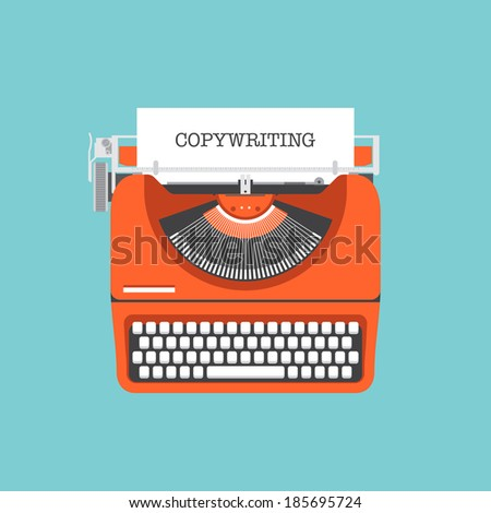 Flat design style modern vector illustration concept of copywriting marketing information, public relations advertising text, social media campaign blogging for presentation a new product on a market