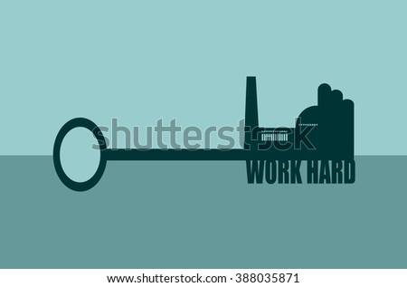 Flat design style modern vector illustration concept of hand holding a key. Factory icon and work hard text on key