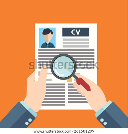 Flat design style modern vector illustration concept of human resources management, finding professional staff, head hunter job, employment issue and analyzing personnel resume - stock vector