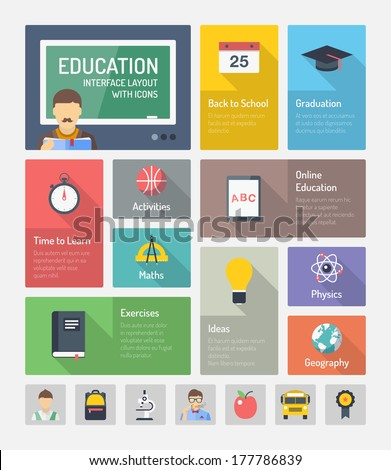 Flat design style modern vector illustration concept of infographic website navigation elements with icons set of online education with teaching and learning symbol, studying and educational objects.  - stock vector