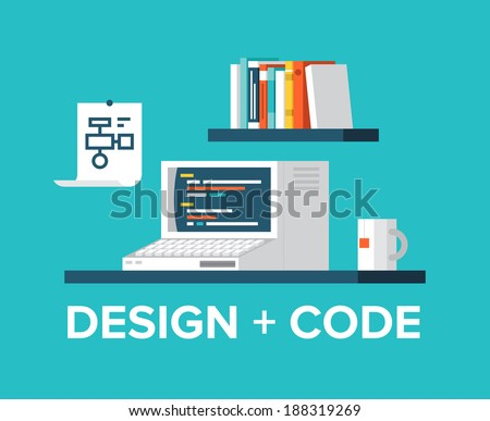 Flat design style modern vector illustration concept of office workplace with retro computer, programming code on a screen, web design, user interface development, website coding. - stock vector