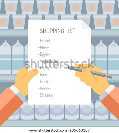 Flat design style modern vector illustration concept of person holding shopping list of items needed to be purchased in a supermarket with abstract product shelves on the background. - stock vector