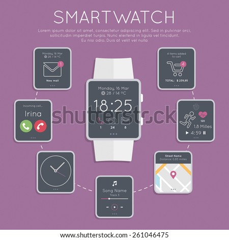 Flat design style modern vector illustration concept of rectangular smartwatch gadget, phone calls, sms, mails, music media player, location, running...  - stock vector