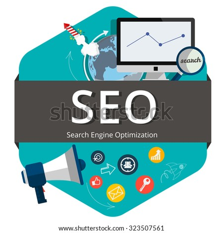 Flat design style modern vector illustration concept of search engine optimization,digital marketing, creative business internet strategy and market promotion development.(SEO) - stock vector