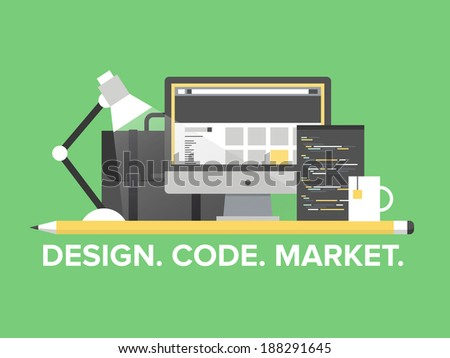 Flat design style modern vector illustration concept of web page programming, website and webpage coding, user interface elements, studio portfolio and creative market development.  - stock vector