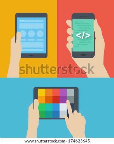 Flat design style modern vector illustration concept of web page prototyping, mobile website interface coding, choosing color palette scheme on digital tablet. Isolated on stylish colored background - stock vector