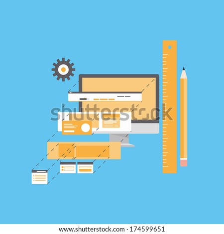 Flat design style modern vector illustration concept of website user interface design and development process, web page form programming and layout prototyping. Isolated on blue background - stock vector