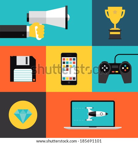 Flat design style modern vector illustration concept with icons set of game playing awards, gaming development apps for mobile device, play games on video console with game controller.  - stock vector