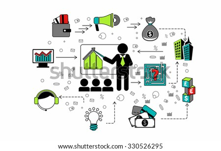 Flat design style modern vector illustration icons concept of corporate consulting, business management, financial planning, office organization development, professional support and service.