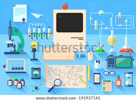 Flat design style modern vector illustration icons set of science and technology development. Laboratory workspace and workplace concept. Chemistry, physics, biology.  Isolated on stylish background. - stock vector