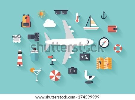 Flat design style modern vector illustration icons set of traveling on airplane, planning a summer vacation, tourism and journey objects and passenger luggage. Isolated on stylish background. - stock vector