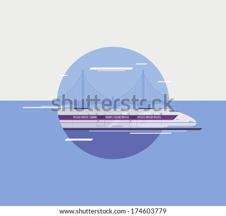 Flat design style modern vector illustration poster concept of modern city high-speed train crossing over bridge. Isolated in circle on stylish background. - stock vector