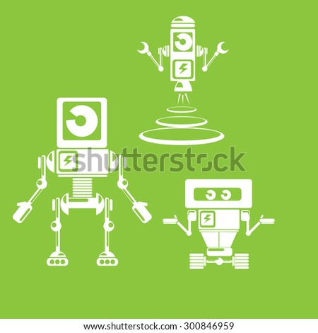 Flat design style robots and cyborgs. robot icon collection - stock vector