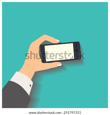 Flat design style vector illustration. Business hand holding smart phone. Isolated on green background - stock vector