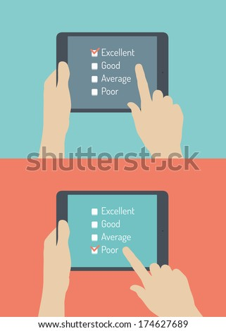 Flat design style vector illustration concept of hand holding modern digital tablet with customer service survey form on screen with excellent and poor choice. Isolated on stylish color background  - stock vector