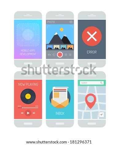 Flat design style vector illustration concept set of modern smartphone with various abstract user interface elements, forms, icons, buttons for application software in stylish colored design.  - stock vector