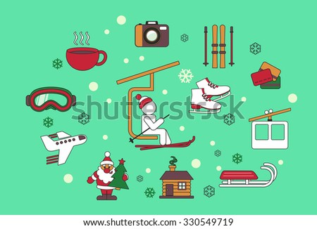 Flat design style vector illustration icons set of traveling, planning a winter vacation, tourism and journey objects like cap of tea, plane, mask, and photo.