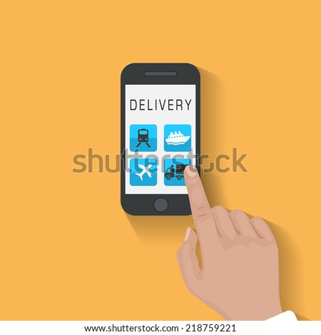 Flat design style vector illustration of modern smartphone with delivery icons on the screen. Near field communication technology concept. Isolated on red background