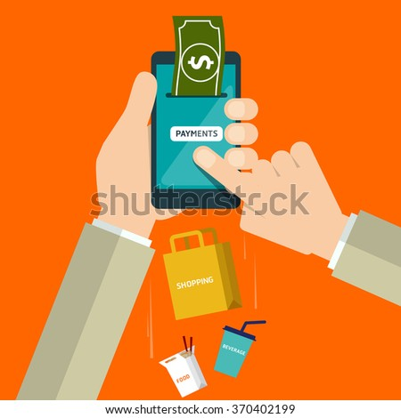 Flat design style vector illustration of modern smartphone with processing of mobile payments materials - stock vector