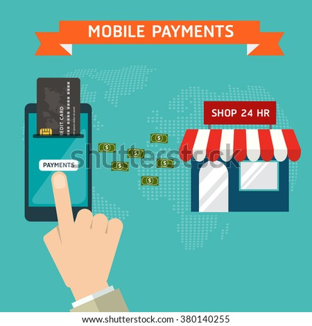 Flat design style vector illustration of modern smartphone with processing of mobile payments materials