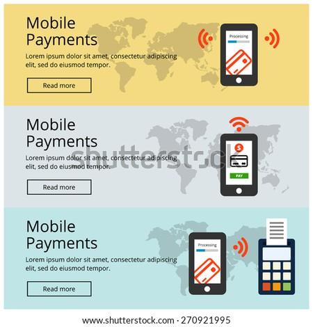 Flat design style vector illustration of modern smartphone with processing of mobile payments from credit card on the screen. M-Commerce Mobile Payment website banner poster set vector illustration. - stock vector
