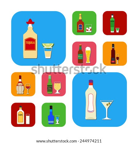 Flat design style vector illustration symbol collection icons.  Set of popular various alcoholic beverages with glasses.