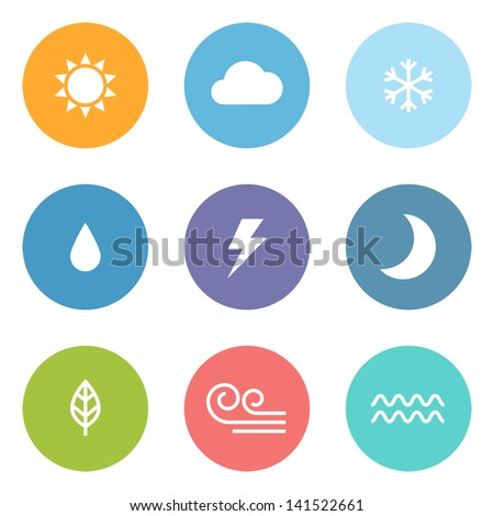 Flat design style weather icons - stock vector