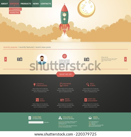 flat design style website template with rocket retro spaceship illustration - stock vector