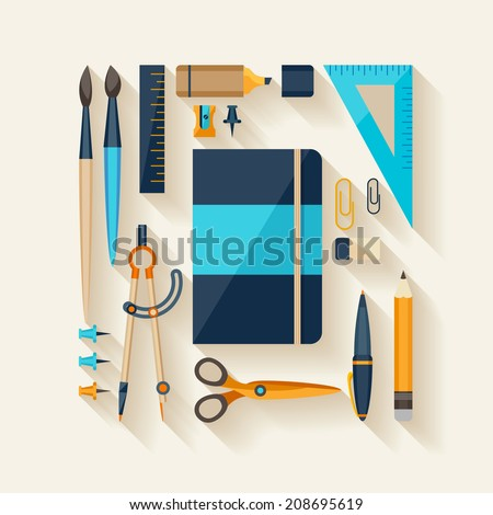 Flat design style. Workplace tools. - stock vector