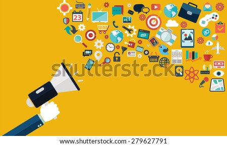 Flat design stylish vector illustration megaphone with cloud of colorful application icons on media theme. Digital marketing concept. Isolated on stylish yellow background. - stock vector
