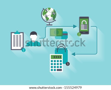 Flat design stylish vector illustration of customer planning online shopping via the Internet using a credit card and mobile phone secure connection. Isolated on turquoise background - stock vector