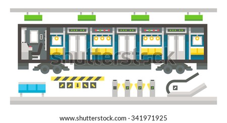 Flat design subway train interior illustration vector - stock vector
