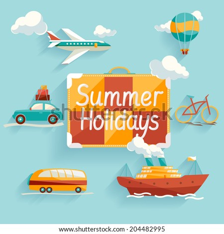 Flat design. Summer holiday. - stock vector