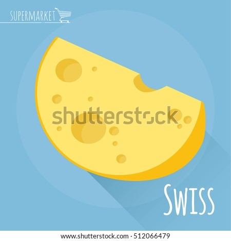 Flat design Swiss cheese vector icon  on light blue background with long shadow