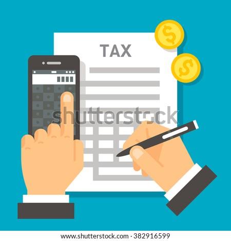 Flat design tax calculation illustration vector - stock vector