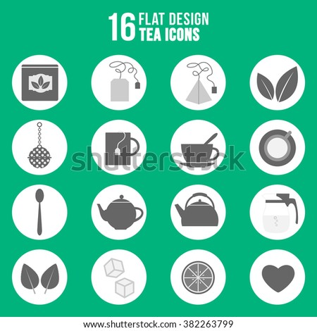 Flat design tea icons set. Illustration of monochrome set of tea icons - stock vector
