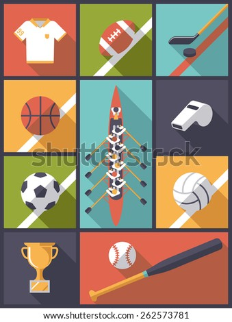 Flat Design Team Sports Icons Vector Illustration. Vertical flat design illustration with various team sports symbols. - stock vector